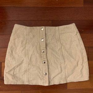 Tan Corduroy Botton Closure Mini Skirt